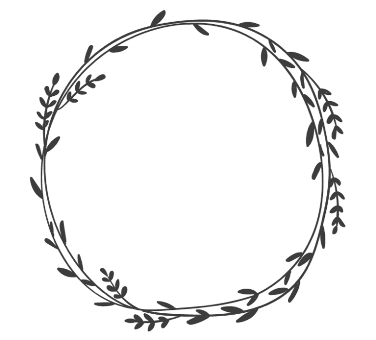 Drawing of a plant wreath (from the Chronically Clumsy logo) - sprays of leaves wrapped around to form a circle